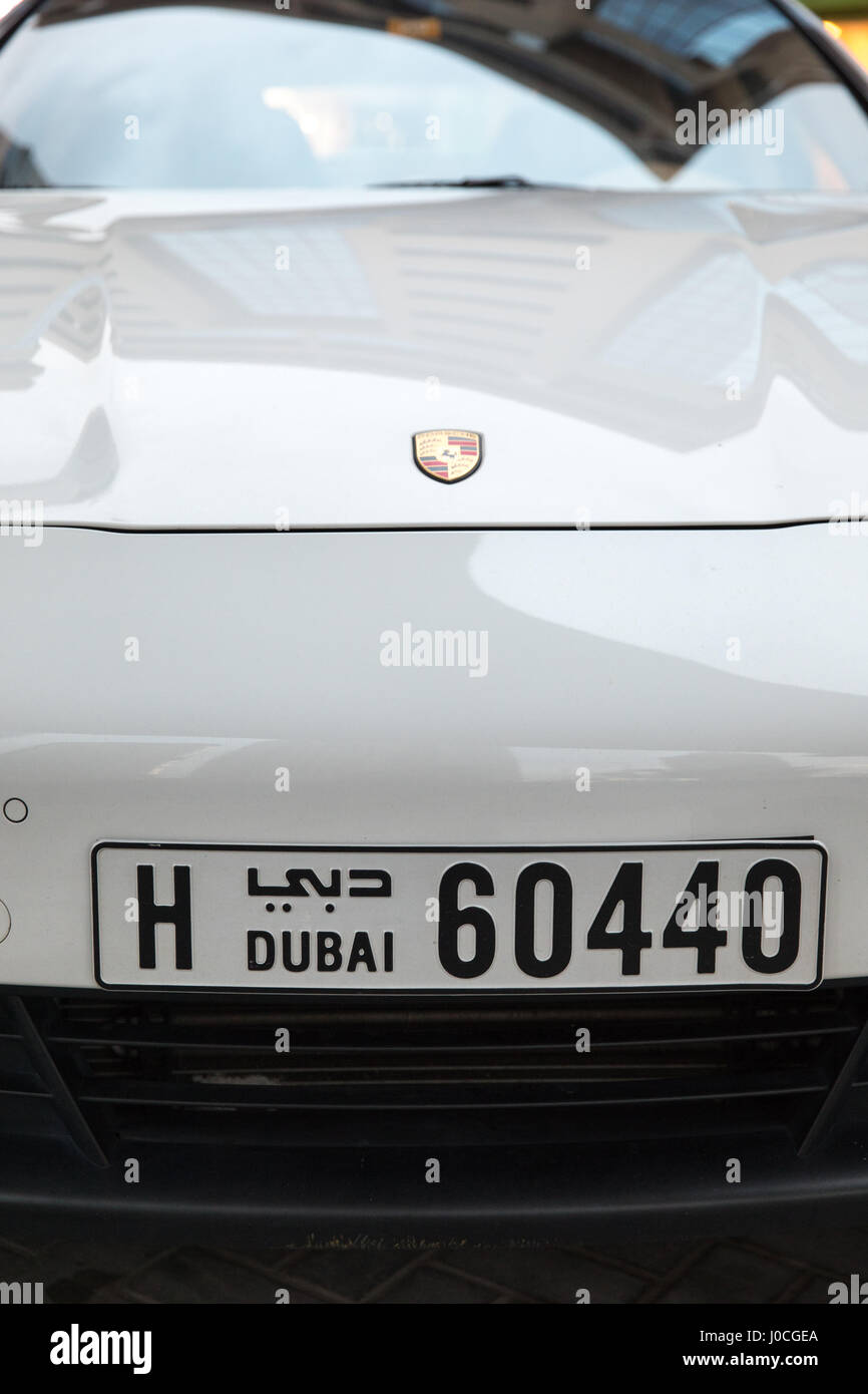 Porsche car number plate in Dubai - Stock Image