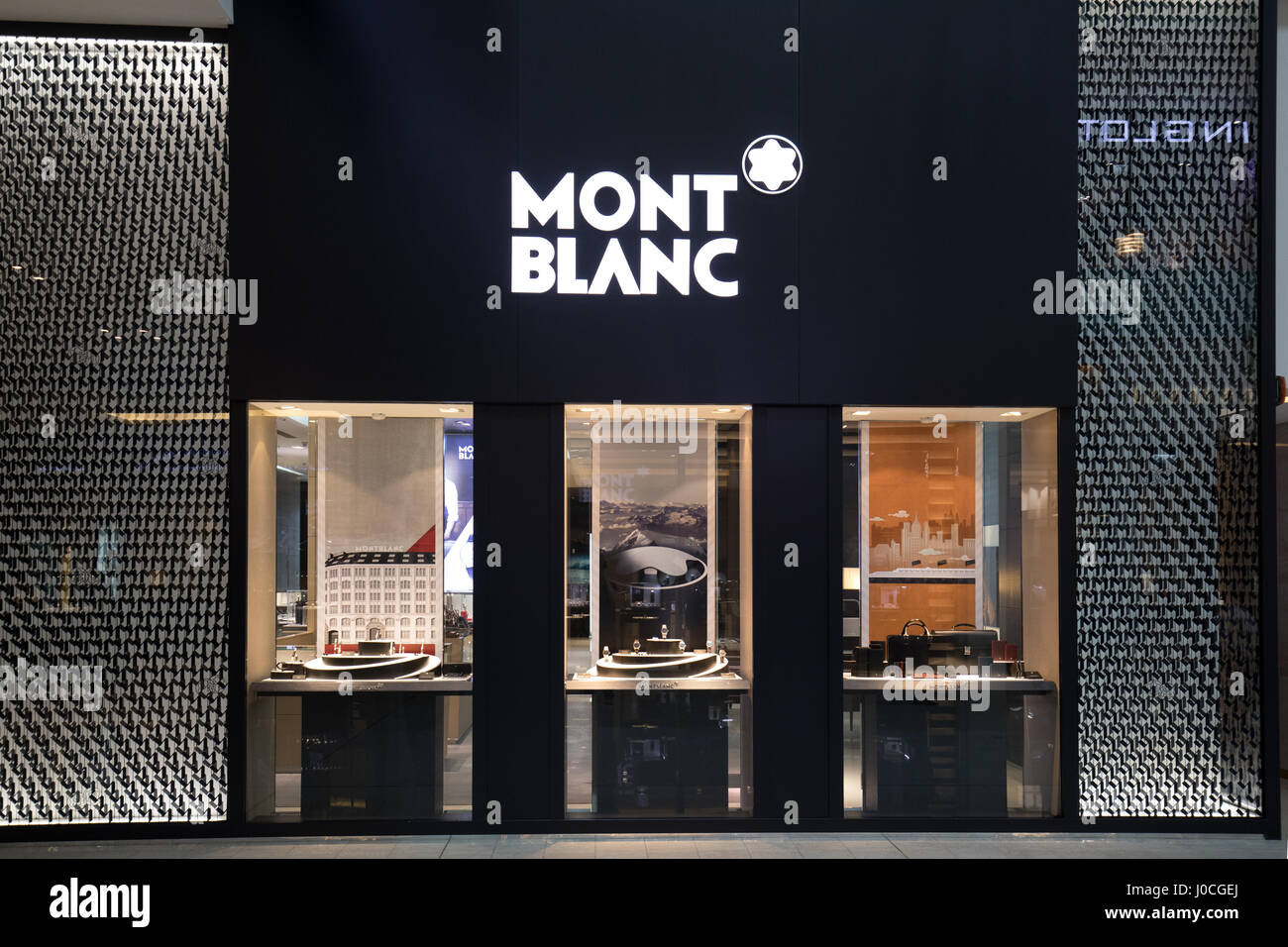 the mont blanc store in dubai mall stock photo 137959322. Black Bedroom Furniture Sets. Home Design Ideas