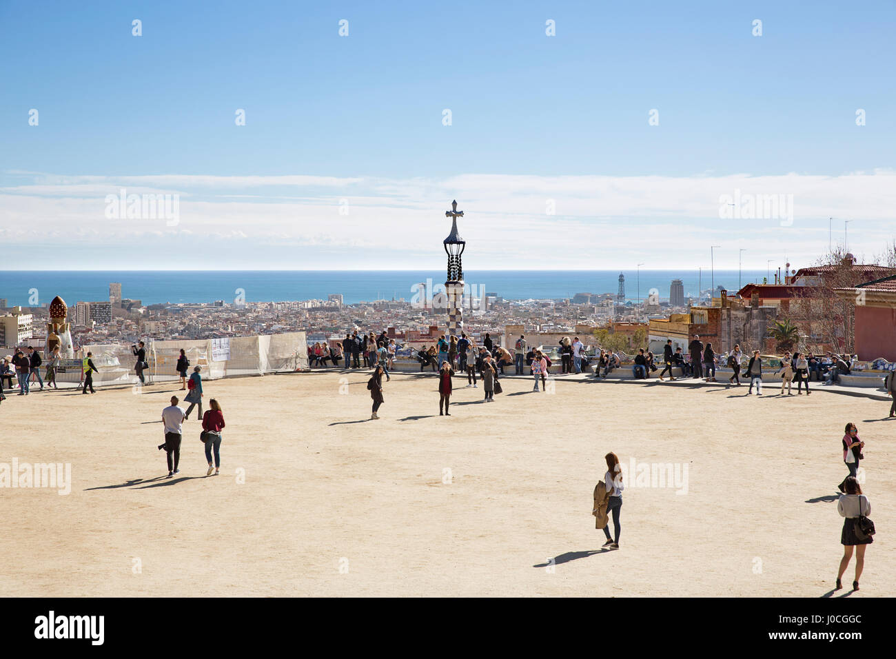 The Park Guell In Barcelona, Spain. - Stock Image
