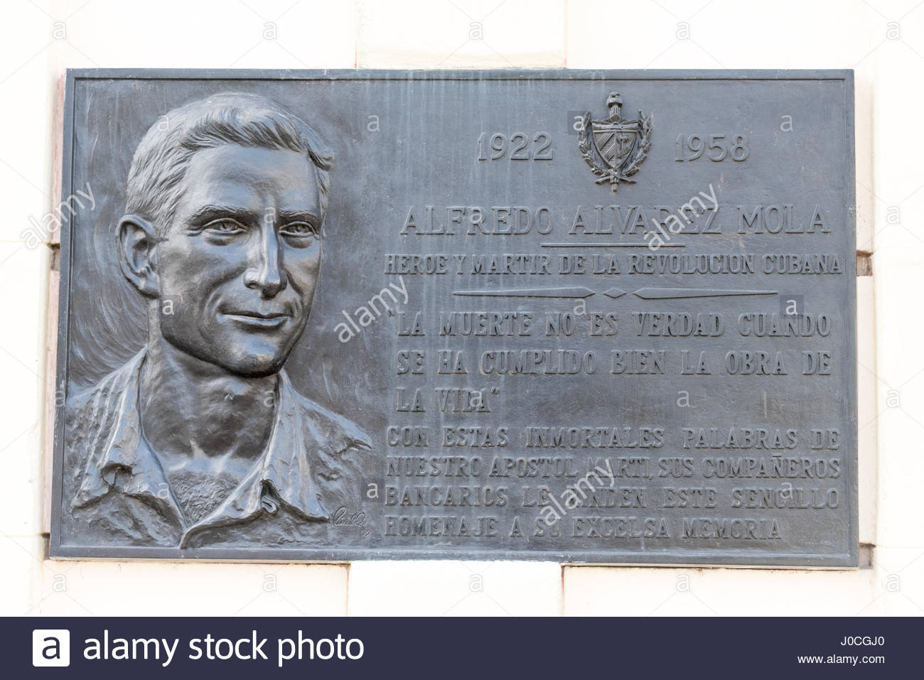 Historic plaque honoring Alfredo Alvarez Mola. He is a hero and martyr of the Cuban Revolution. The plaque is located - Stock Image