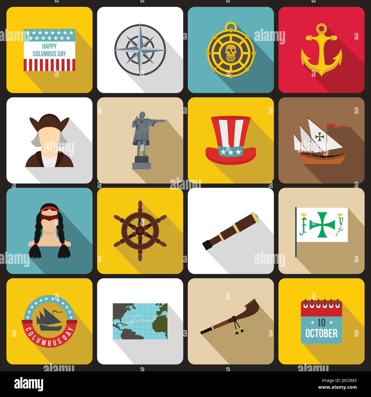 Columbus Day icons set, flat style - Stock Vector