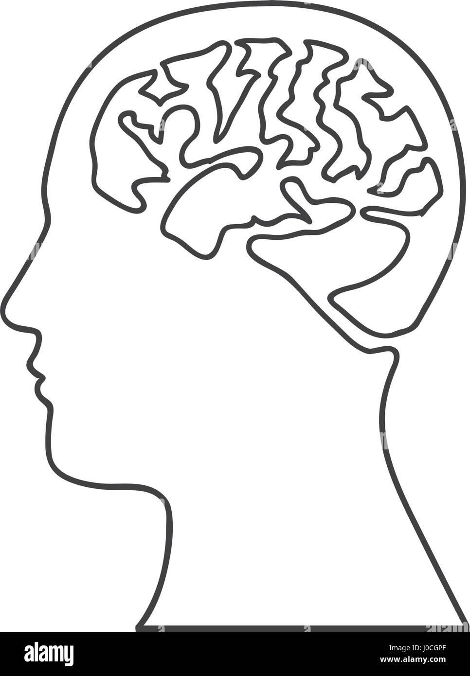 monochrome silhouette of human head with brain - Stock Image