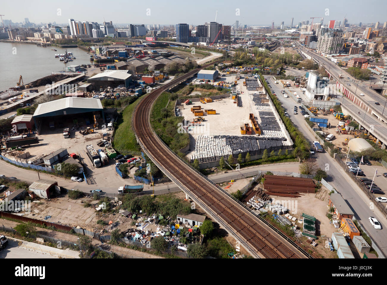 Aerial View looking towards Canning Town and the Estuary of the River Lee - Stock Image