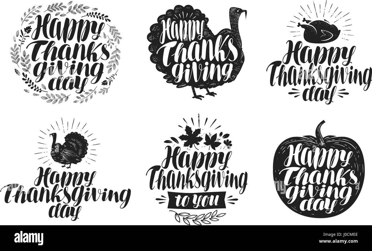 Happy Thanksgiving Label Set Holiday Icons Or Symbols Lettering