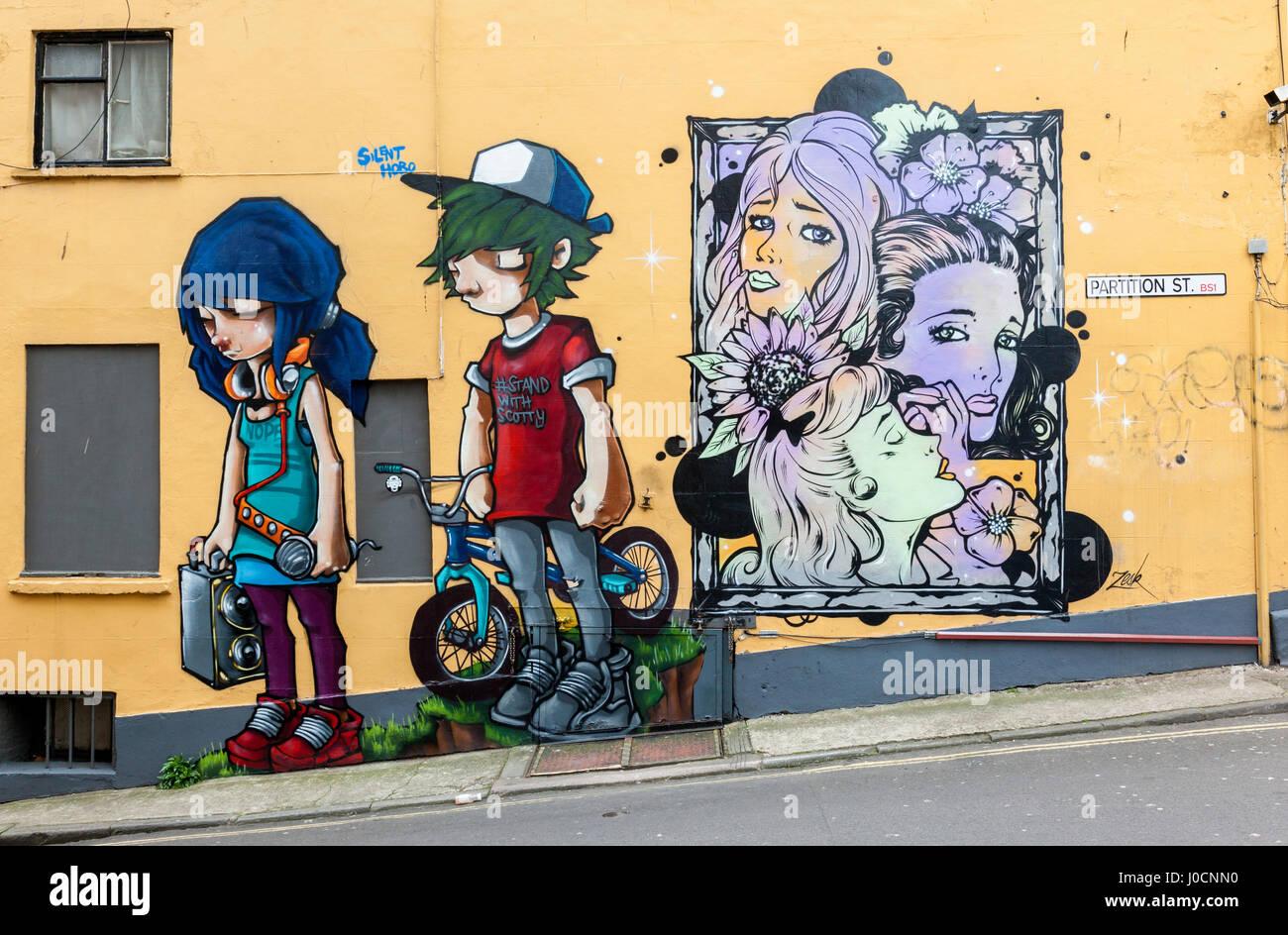 Wall art on the wall of Three Tuns pub, Partition Street, Bristol, UK - Stock Image