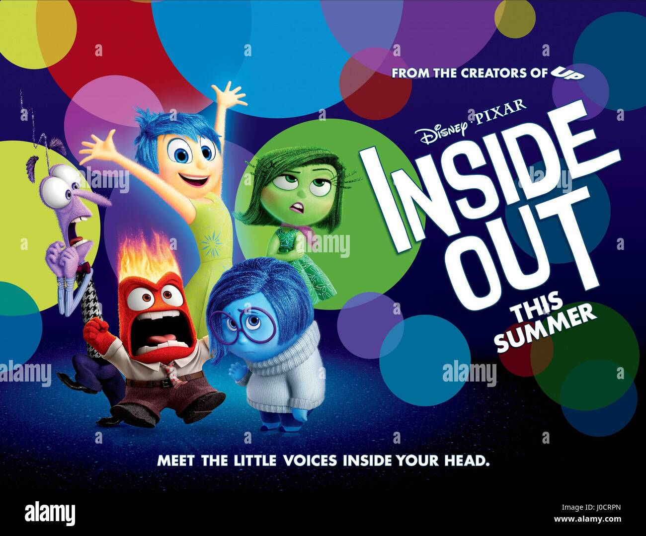 FEAR ANGER JOY SADNESS & DISGUST POSTER INSIDE OUT (2015) - Stock Image