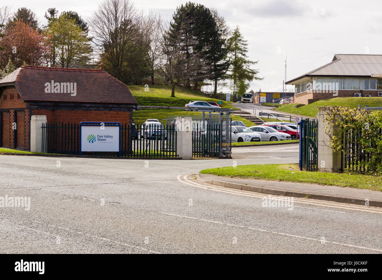 Packsaddle, Wrexham, United Kingdom. 11th Apr, 2017. The head office entrance to Dee Valley Water Plc the company - Stock Image