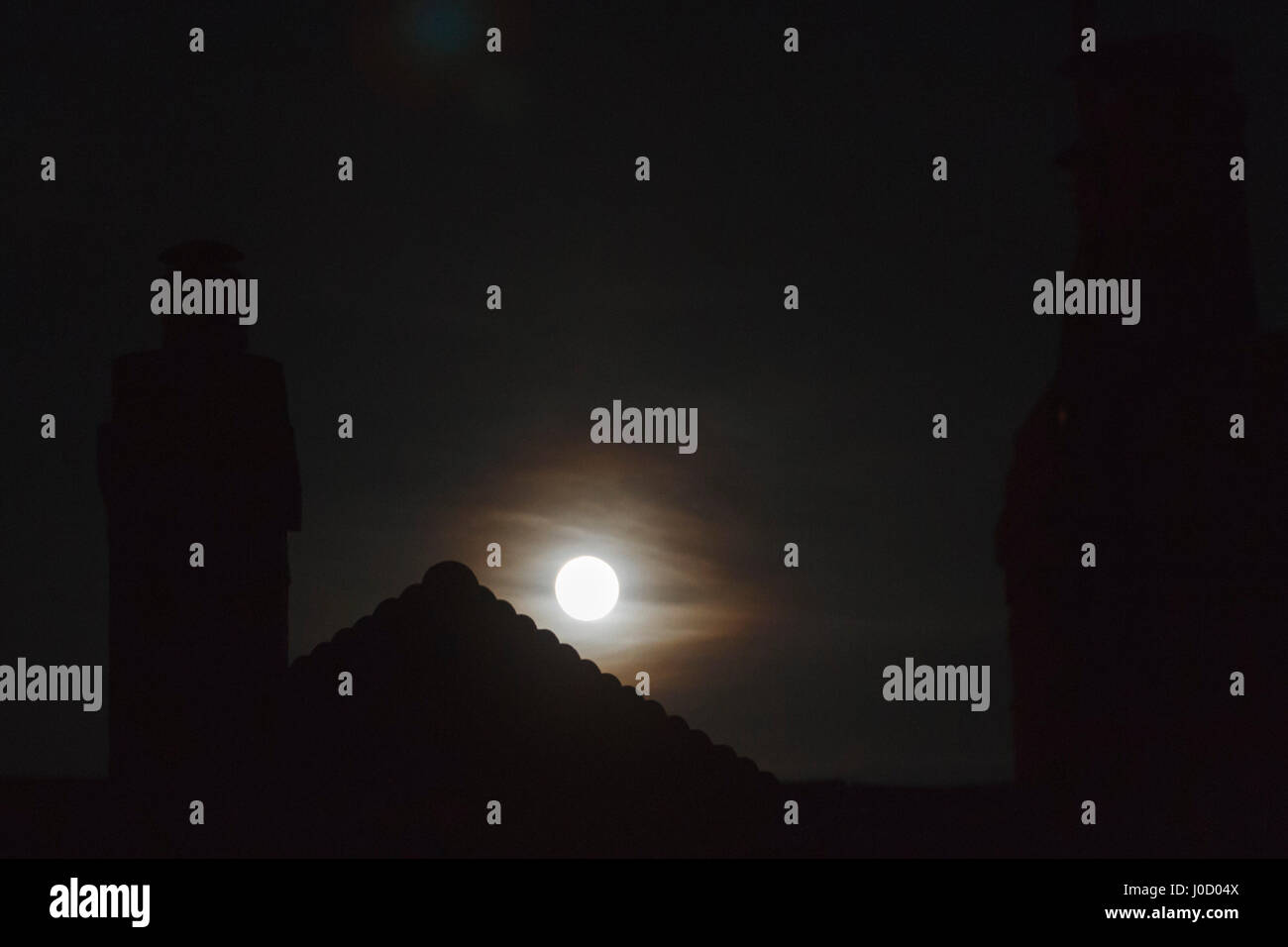 11th Apr, 2017. UK weather. Tonights full moon, known as the Pink moon rises over East Sussex, UK Credit: Ed Brown/Alamy - Stock Image
