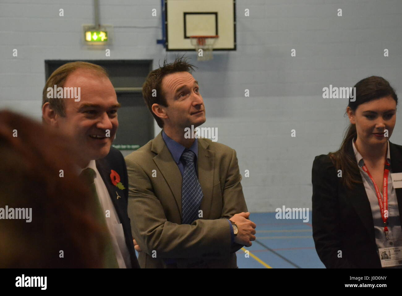 Ed Davey & John Leech visit an energy efficiency project led by students at Parrs Wood High School, Didsbury, - Stock Image