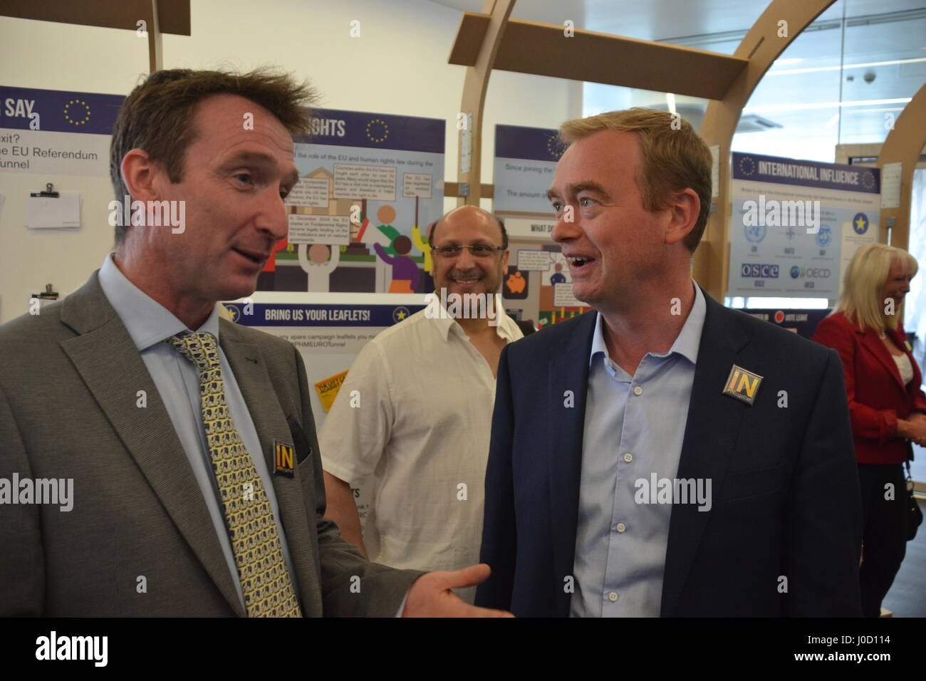 Tim Farron MP & Cllr. John Leech lead a pro-EU rally during a visit to the IN/OUT Euro Tunnel at the People's History Stock Photo