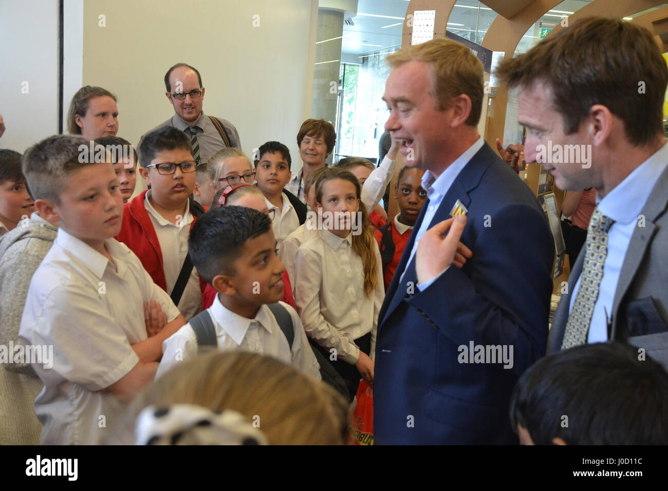 Tim Farron MP & Cllr. John Leech lead a pro-EU rally during a visit to the IN/OUT Euro Tunnel at the People's - Stock Image