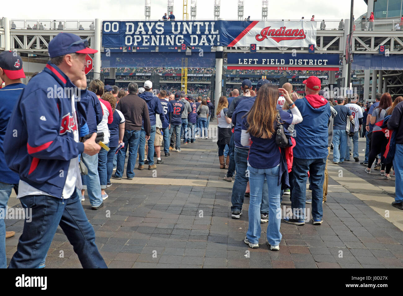 Cleveland Indians fans que at Progressive Field for home opener on April 11, 2017 - Stock Image