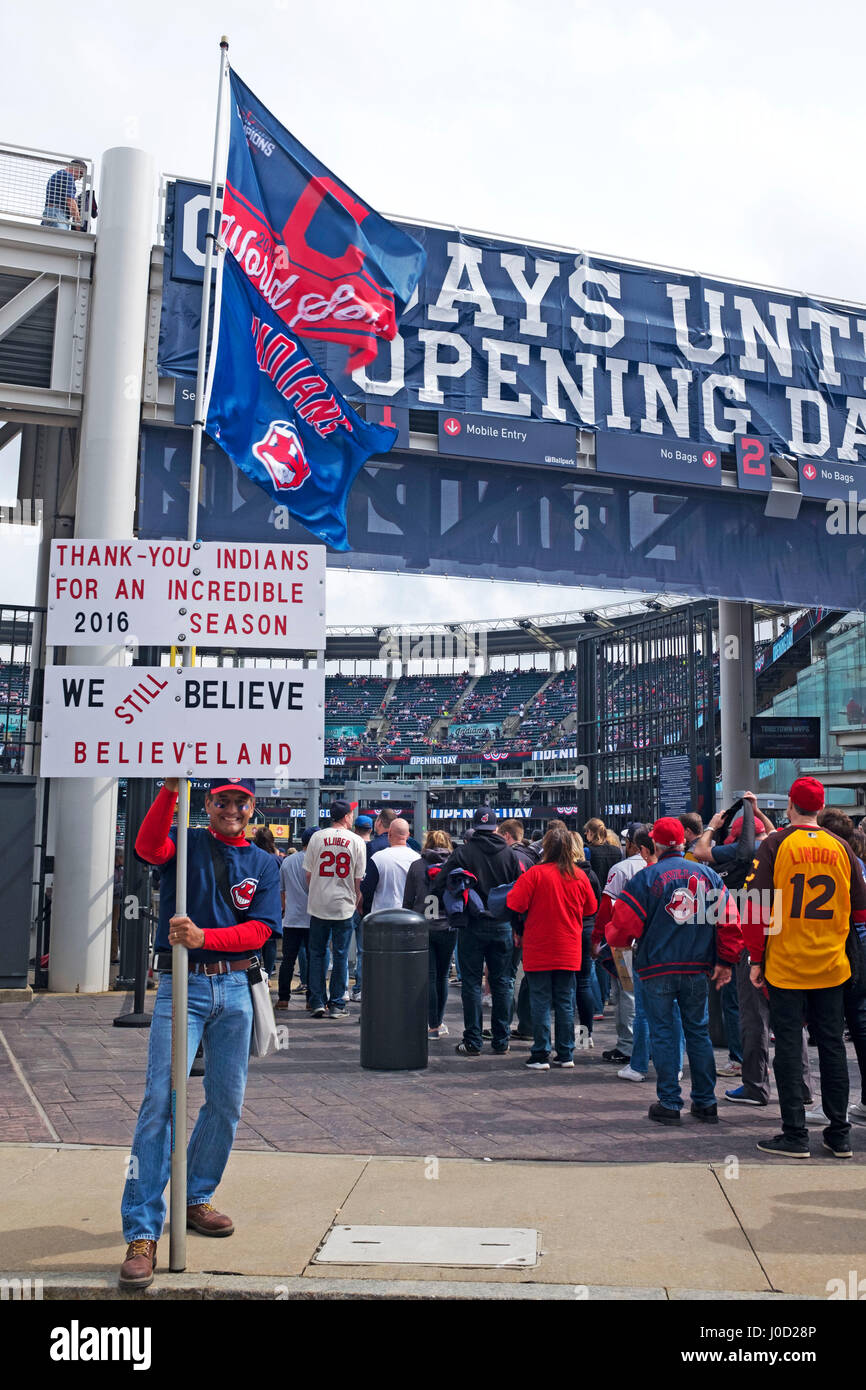 Fans entering Progressive Field on Cleveland Indians opening day April 11, 2017 - Stock Image