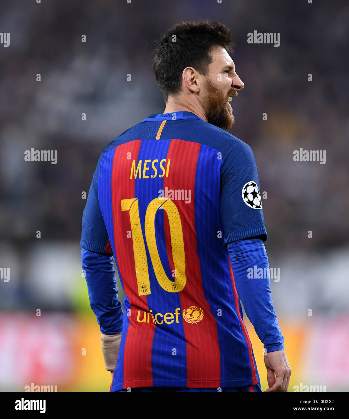 11th Apr 2017 Barcelonas Lionel Messi Reacts During The UEFA Champions League Quarterfinal First Leg Match Between Juventus And Barcelona In Turin