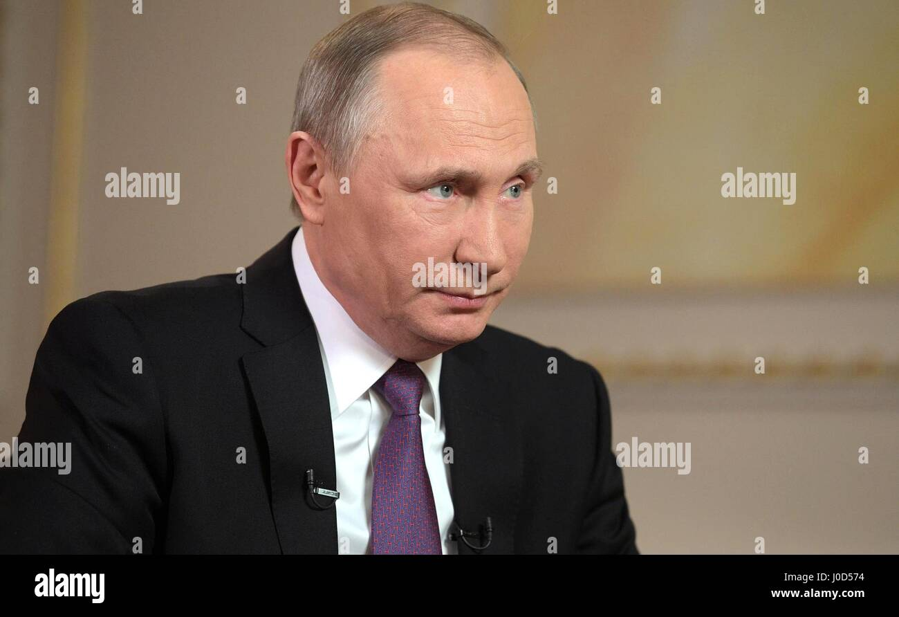 Moscow, Russia. 12th Apr, 2017. Russian President Vladimir Putin during an interview with Mir broadcasting company at the Kremlin April 12, 2017 in Moscow, Russia. Credit: Planetpix/Alamy Live News Stock Photo
