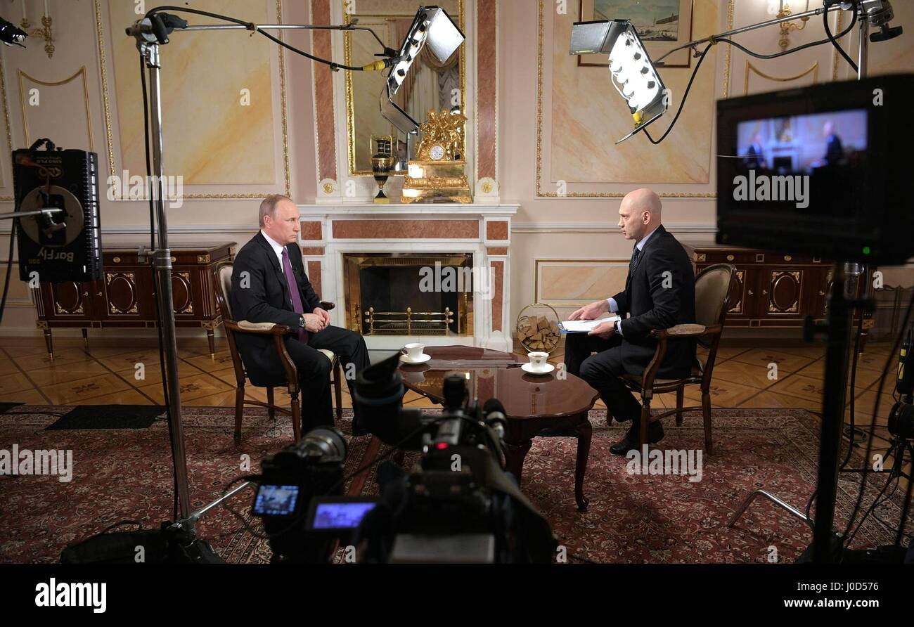 Moscow, Russia. 12th Apr, 2017. Russian President Vladimir Putin during an interview with reporter Radik Batyrshin of the Mir broadcasting company at the Kremlin April 12, 2017 in Moscow, Russia. Credit: Planetpix/Alamy Live News Stock Photo