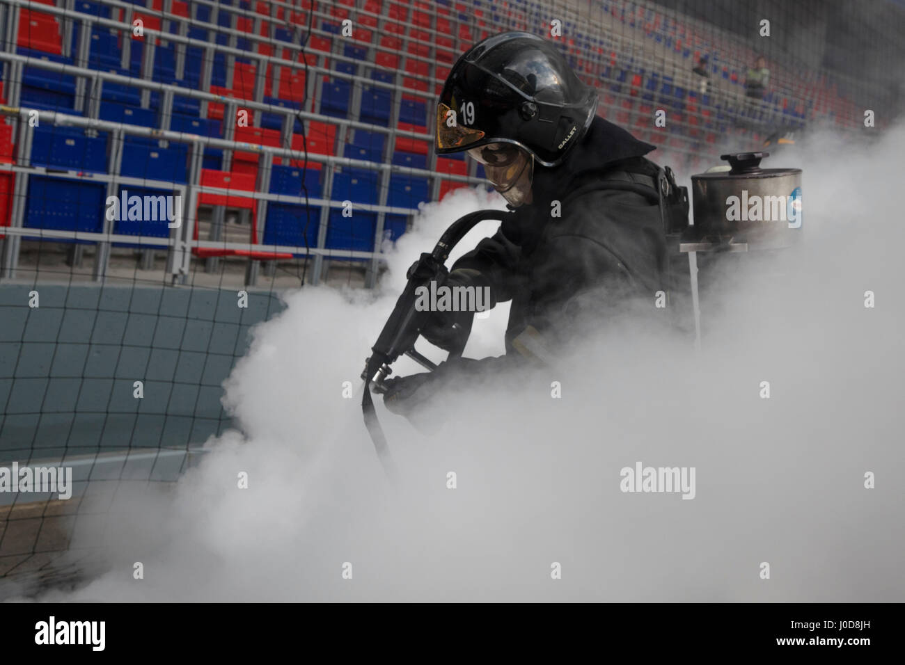 Moscow, Russia. 12th Apr, 2017. Emergencies Ministry's fire drill at CSKA Arena in Moscow Credit: Nikolay Vinokurov/Alamy Stock Photo