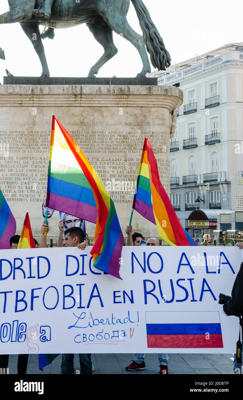 Madrid Spain 12th April 2017 Gay Community Protest In Puerta