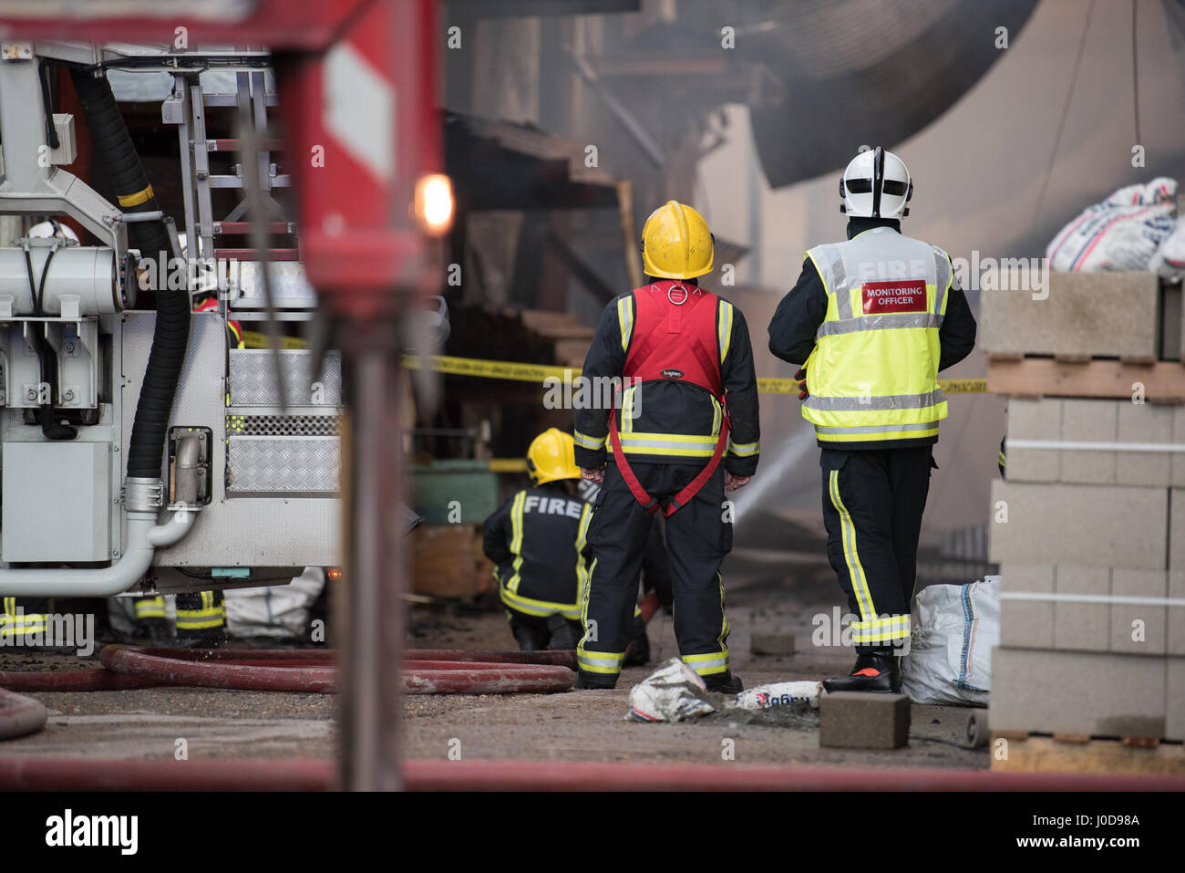 London, United Kingdom. 12th April 2017. Twelve fire engines and around 80 firefighters and officers were called Stock Photo
