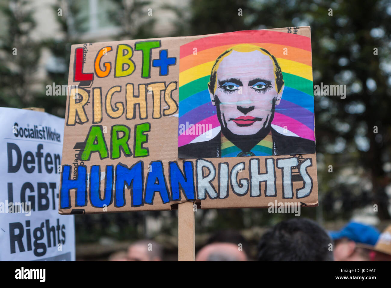 London, UK. 12th Apr, 2017. Placards at the London protest against Chechnya gay 'concentration camps' Credit: - Stock Image
