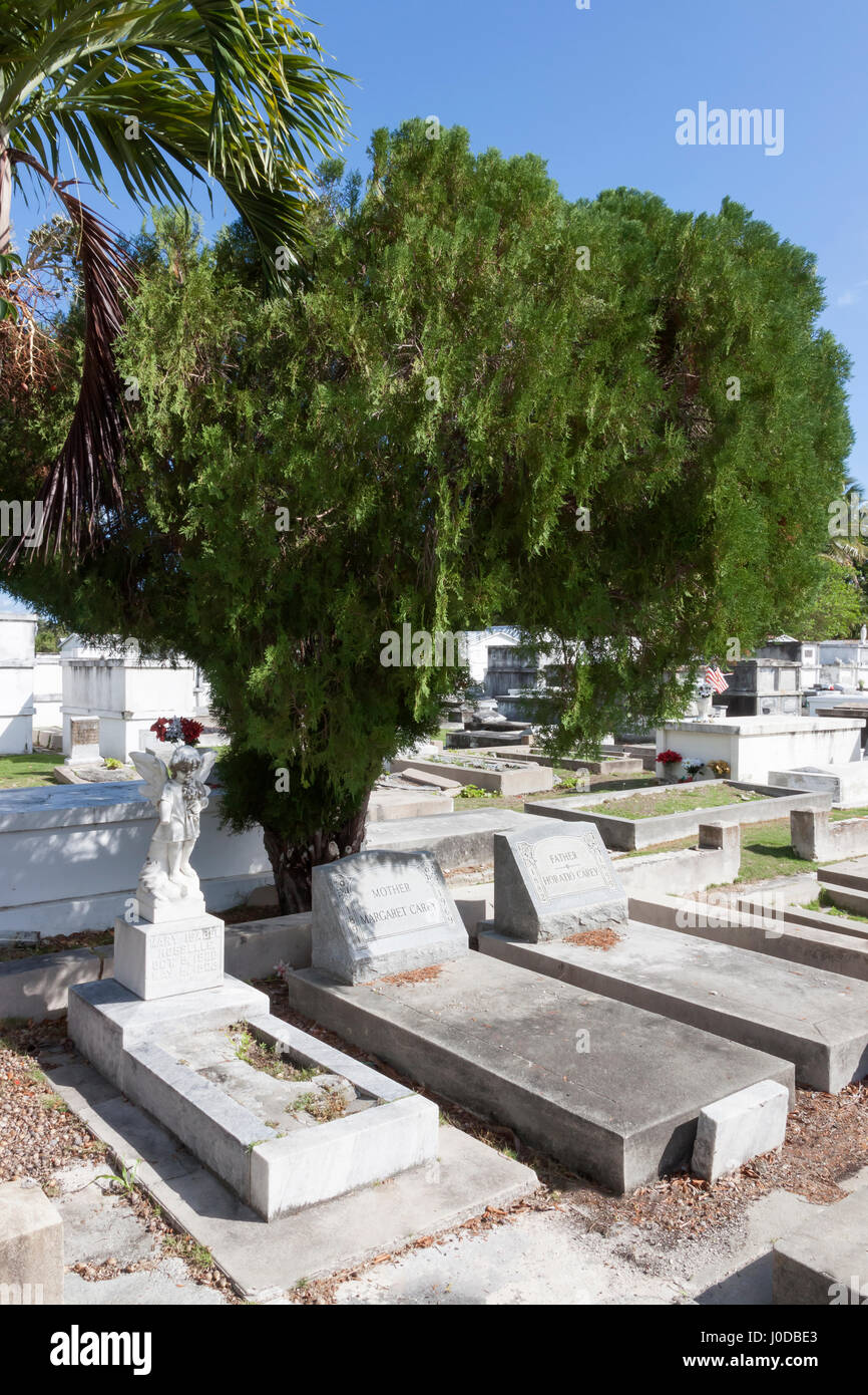 Tombstones in the famous Key West Cemetery, Key West, Florida. - Stock Image