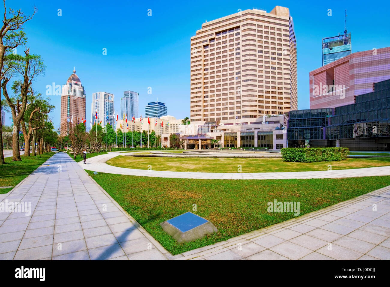 TAIPEI, TAIWAN - MARCH 28: Architecture of the Xinyi financial district outside the World Trade Center building - Stock Image