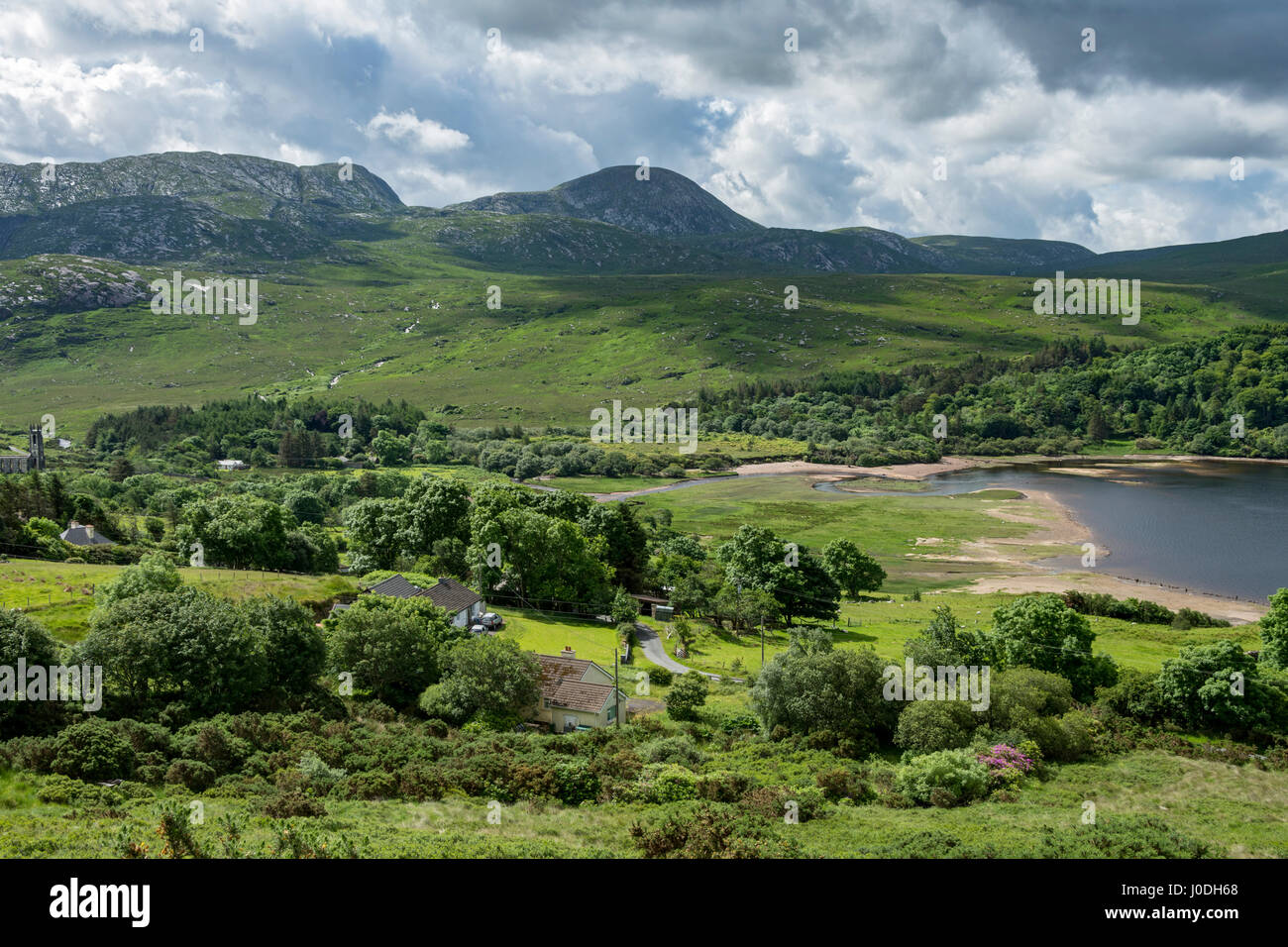 The Derryveagh Mountains over the head of Dunlewy Lough, County Donegal, Ireland - Stock Image