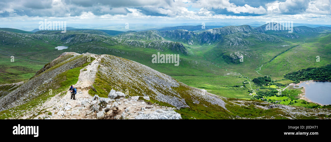 The Poisoned Glen and the Slieve Snaght range, and Dunlewy Lough, from near the summit of Errigal, Derryveagh Mountains, - Stock Image