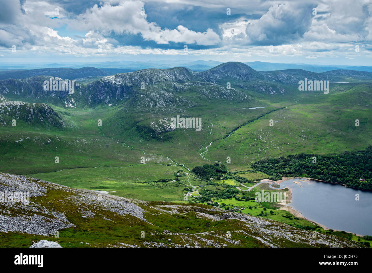 The Poisoned Glen and the Slieve Snaght range, and Dunlewy Lough, from the summit of Errigal, Derryveagh Mountains, - Stock Image