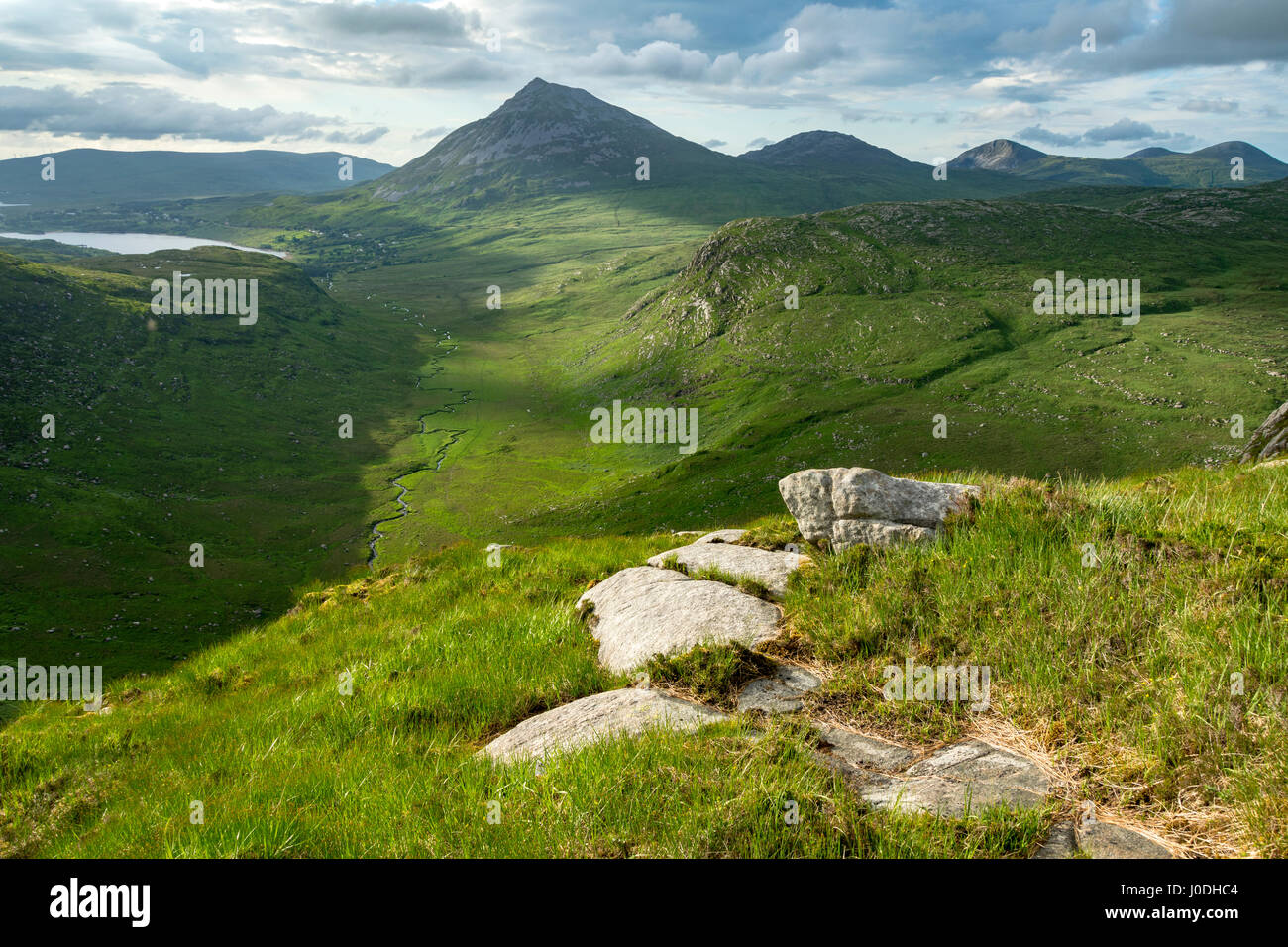 Dunlewy Lough, Errigal and the Aghla hills over the Poisoned Glen, from Crockfadda, Derryveagh Mountains, County - Stock Image
