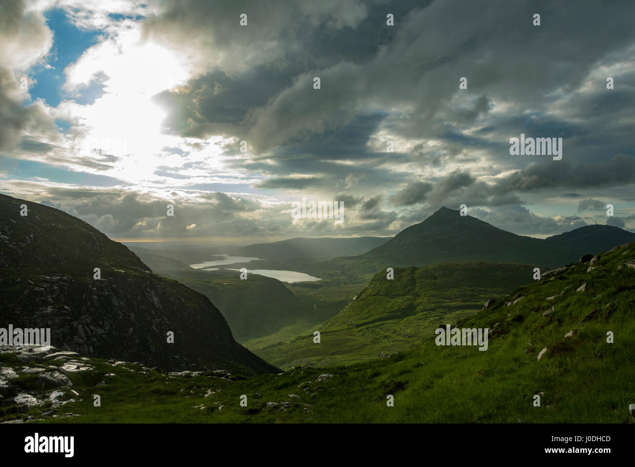 Dunlewy Lough and Errigal over the Poisoned Glen, from Crockfadda, Derryveagh Mountains, County Donegal, Ireland - Stock Image