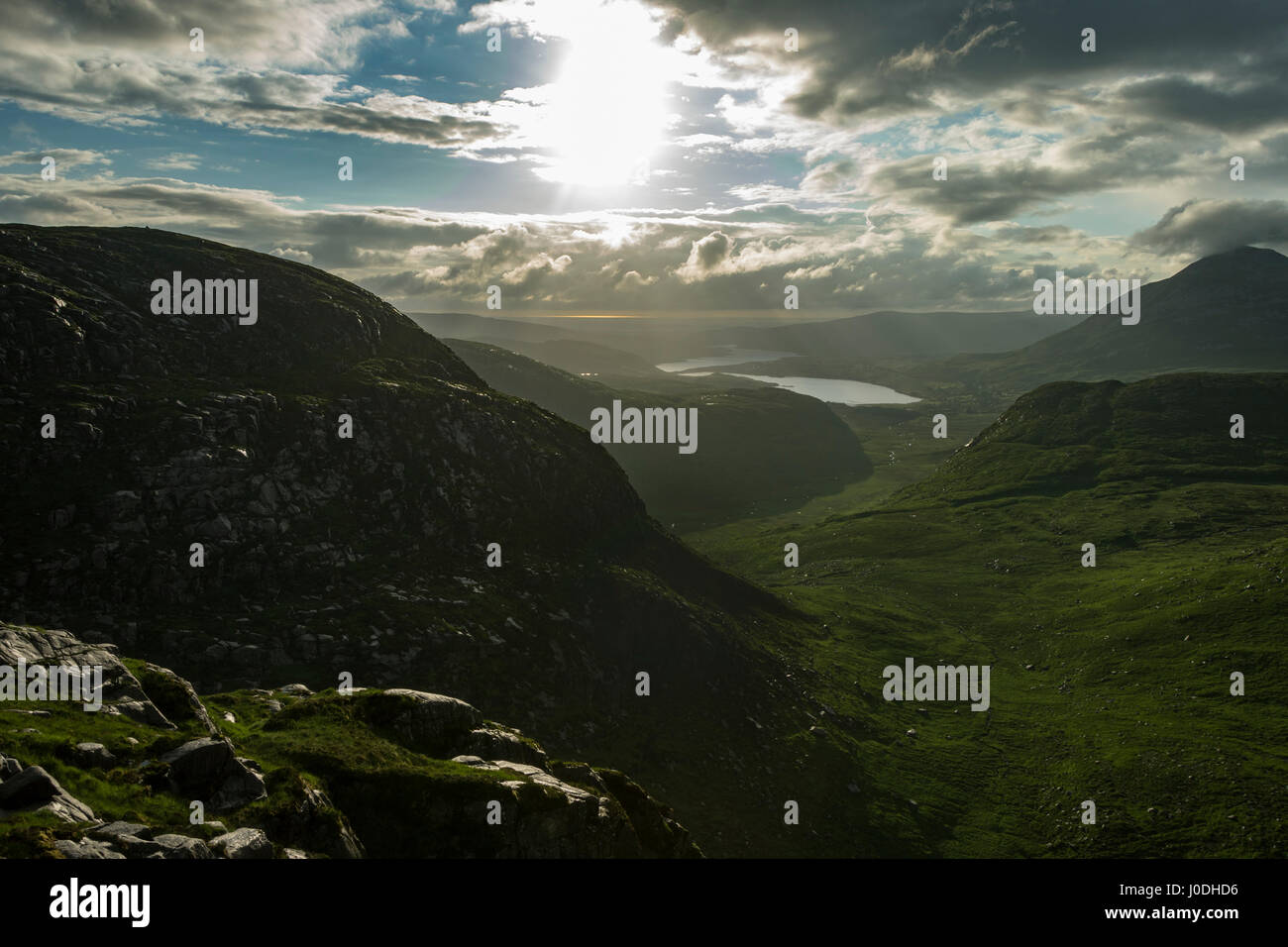 Lough Nacung Upper, Dunlewy Lough and Errigal over the Poisoned Glen, from Crockfadda, Derryveagh Mountains, County - Stock Image