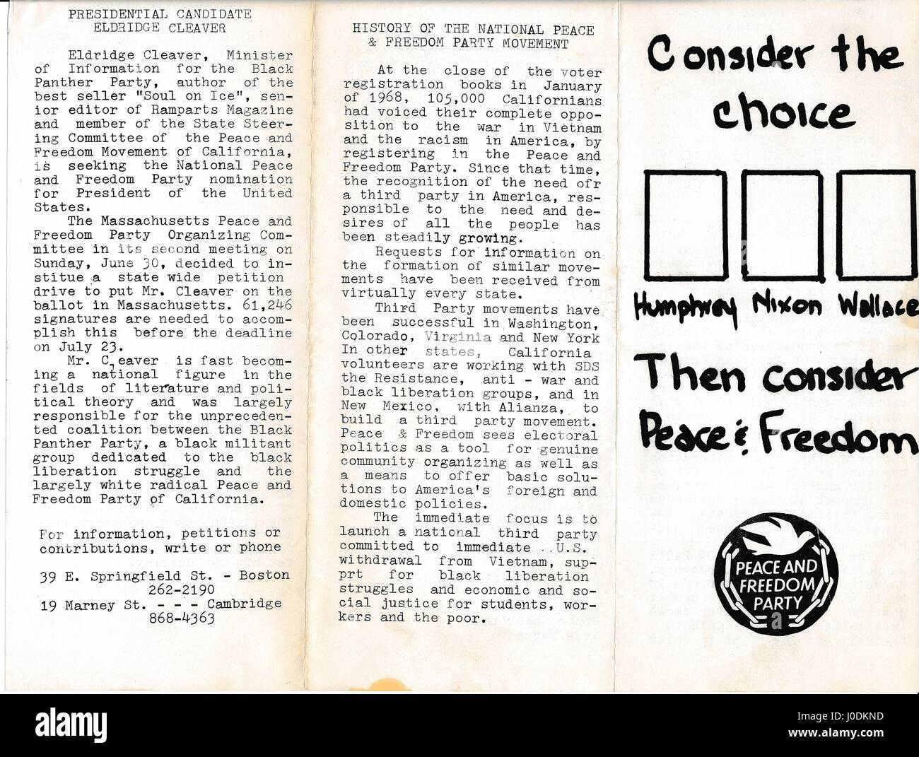 A Vietnam War era leaflet from the Peace and Freedom Party advocating that  citizens join their e7faee0fc4f