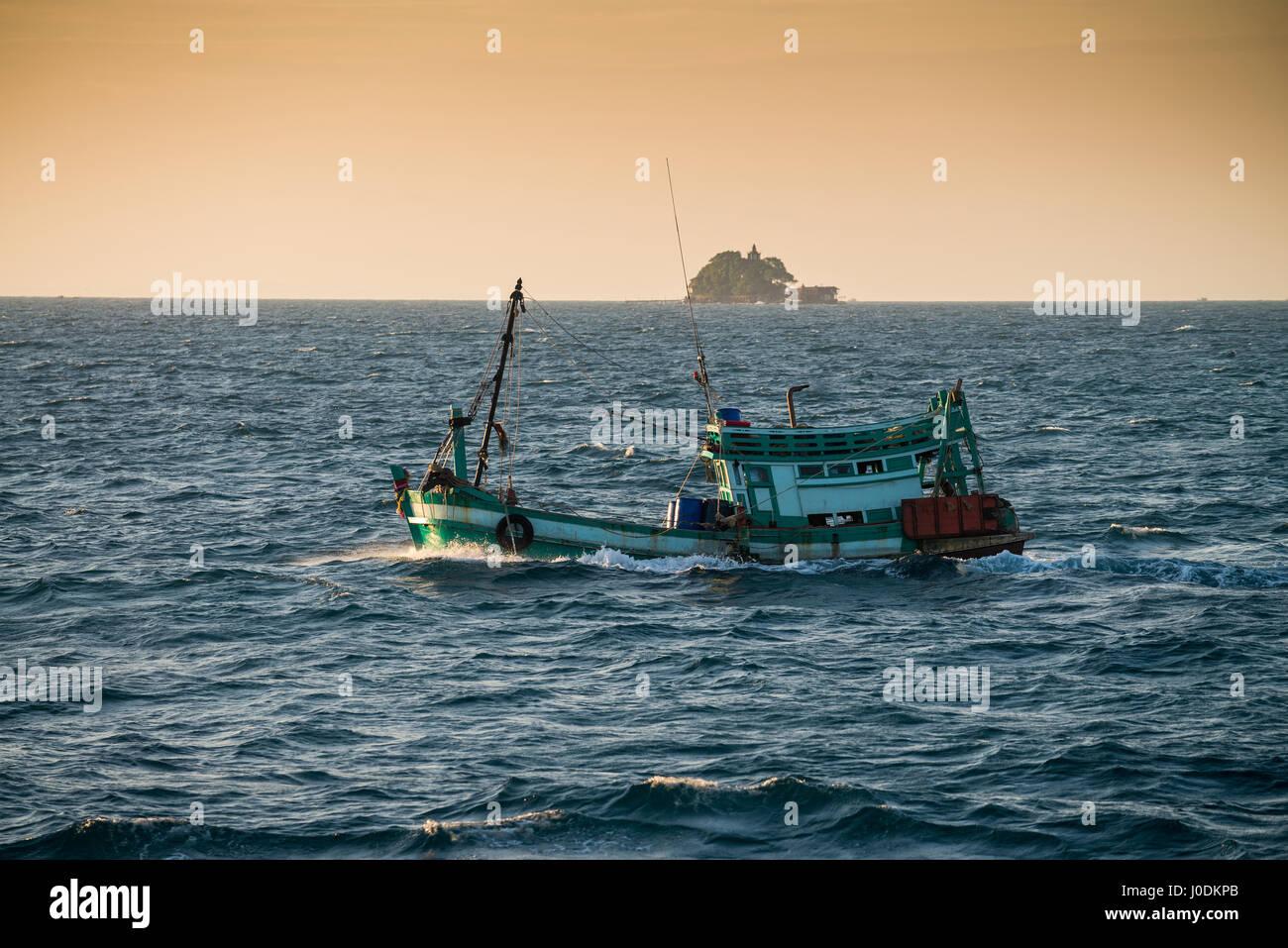 Fishing boat on the sea near Sihanoukville, Cambodia - Stock Image