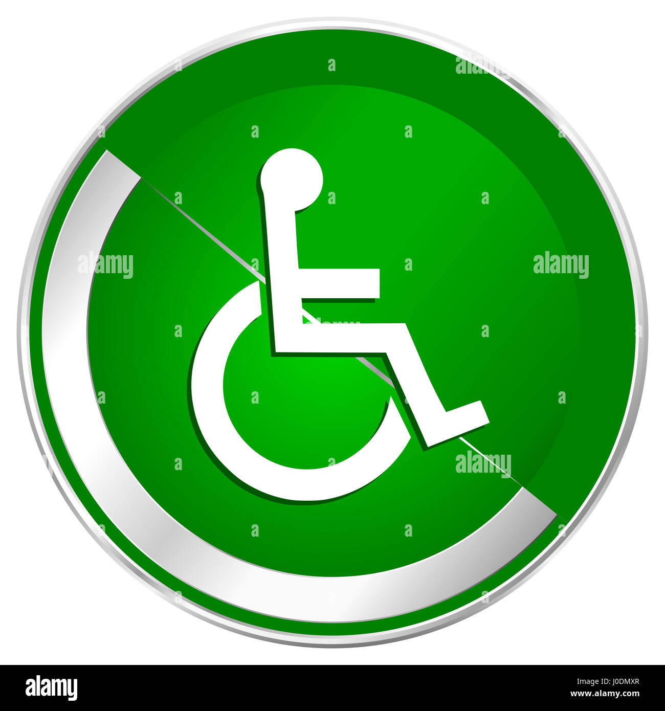 Wheelchair silver metallic border green web icon for mobile apps and internet. - Stock Image