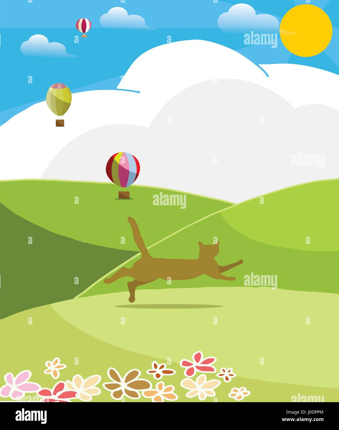 Happy cat run to the hills in sunny day - Stock Vector
