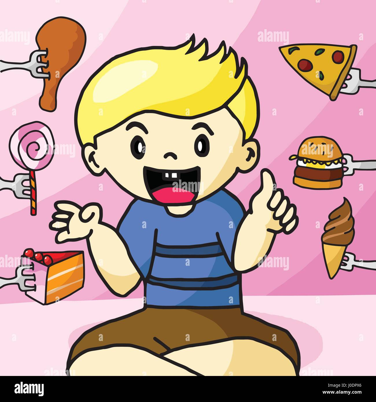 The boy like fast food - Stock Vector