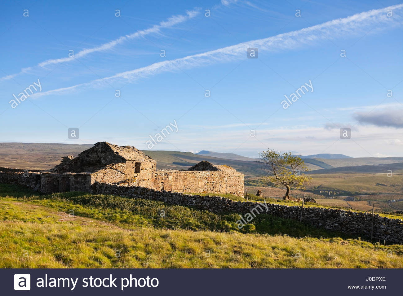 The ruined inn of High Dyke in the Upper Eden Valley, Yorkshire Dales, UK - Stock Image