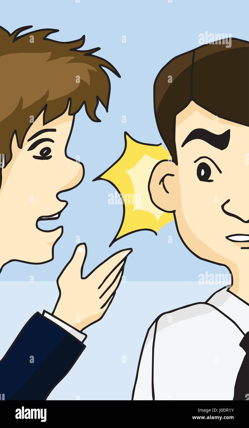 Guy whispering into man's ear telling about something - Stock Vector