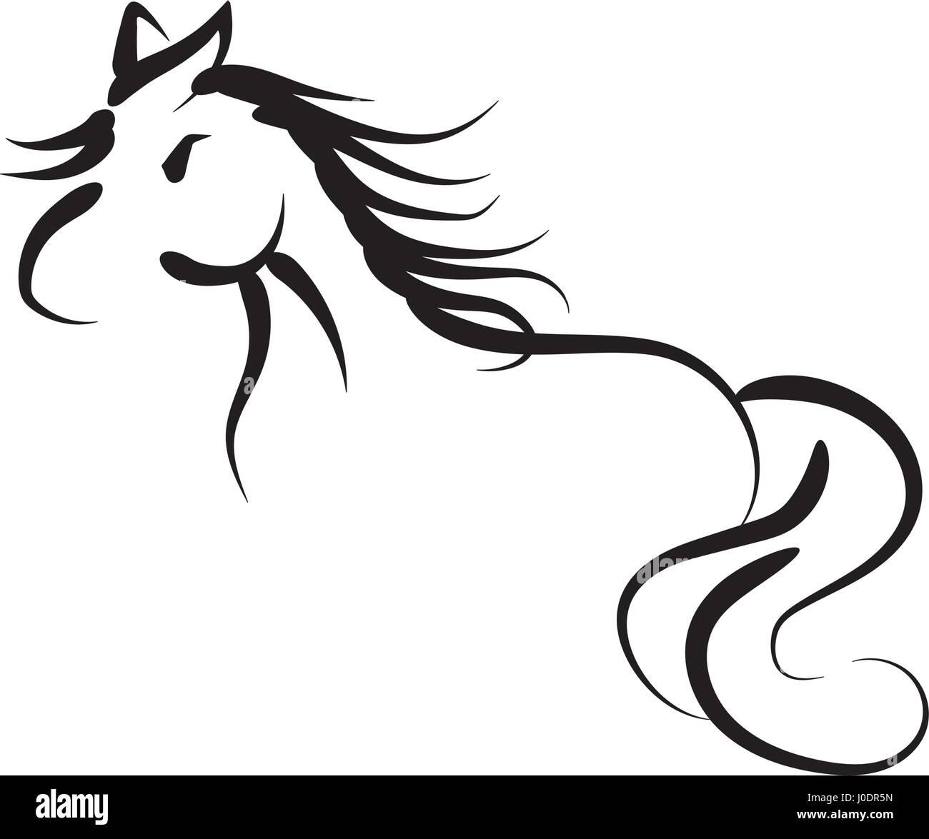 Hand drawing horse Illustration - Stock Image
