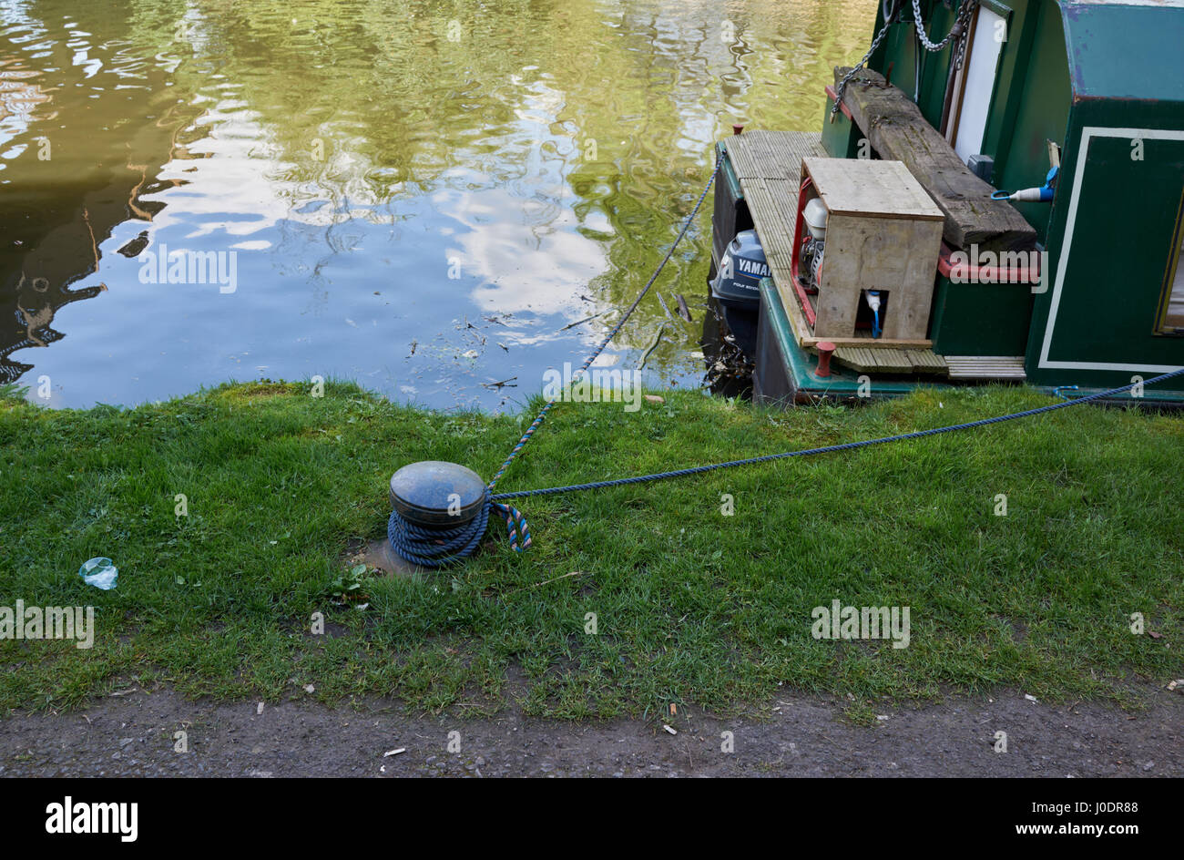 A moored canal boat in Brentford UK - Stock Image