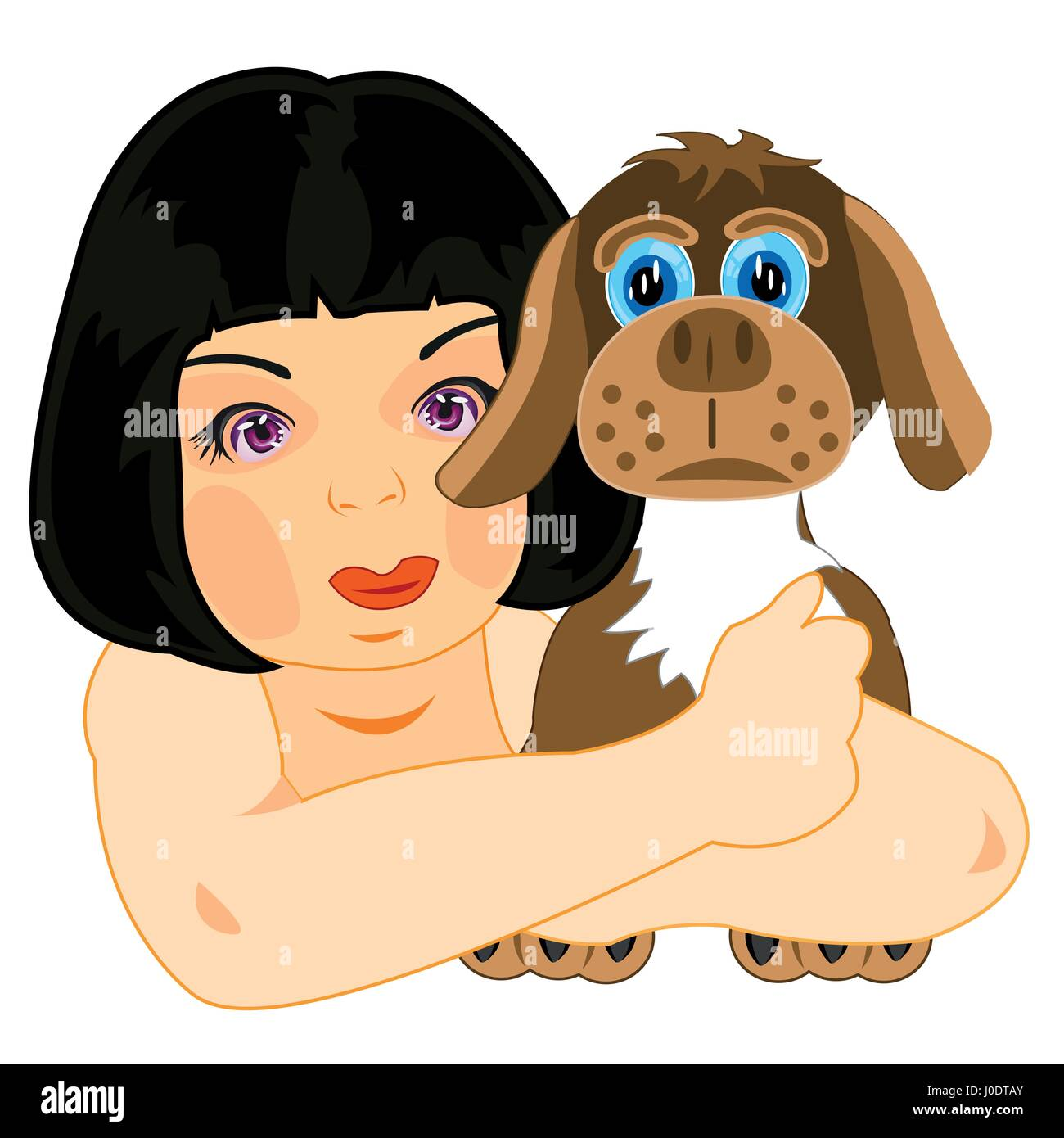 Girl with dog - Stock Vector