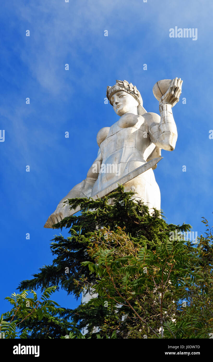 Statue of Mother Georgia, Kartlis Deda on the top of Sololaki hill in Tbilisi, Georgia Stock Photo