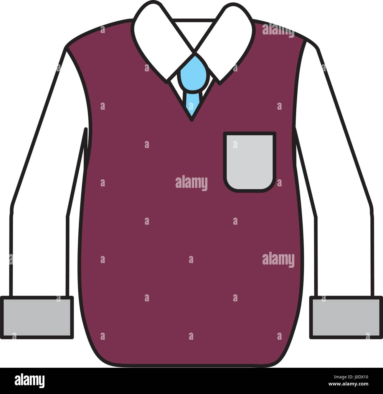 shirt with tie and vest of wool cloth - Stock Vector
