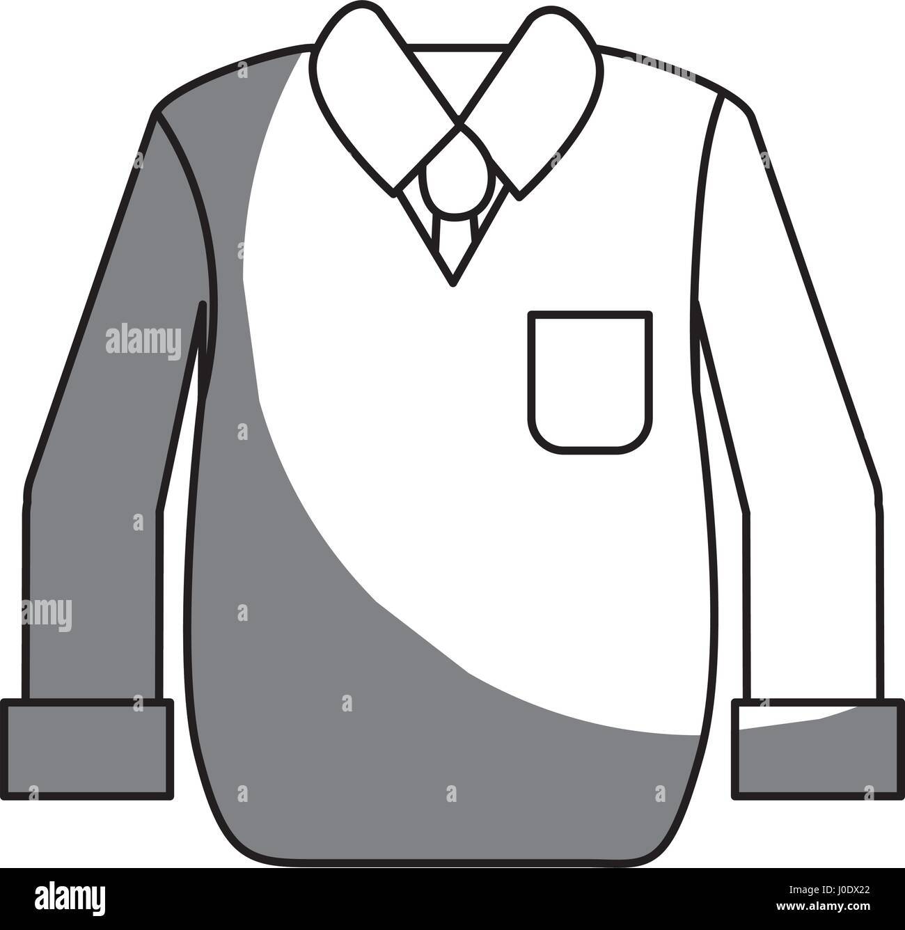 silhouette shirt with tie and vest of wool cloth - Stock Vector