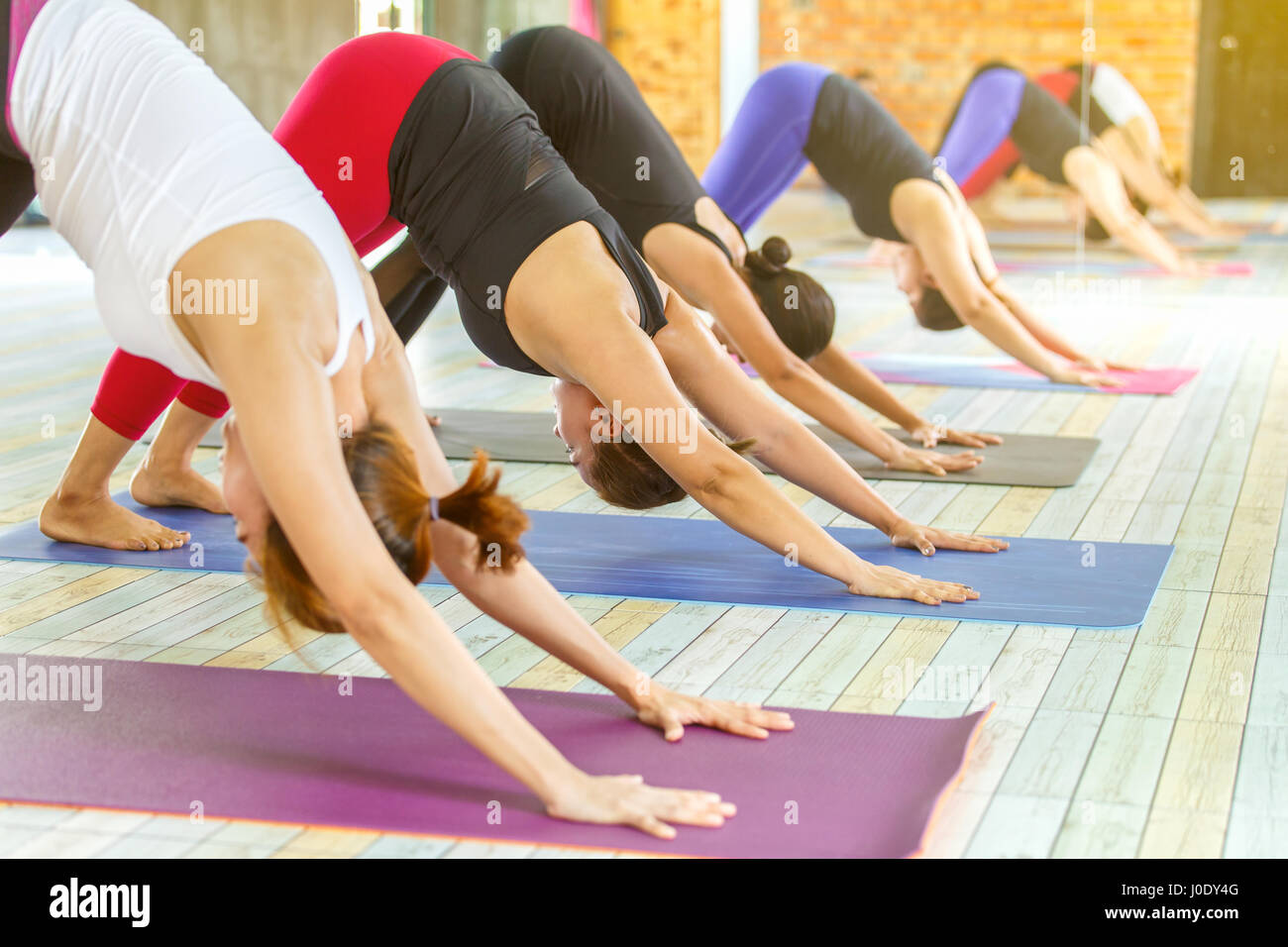 Group of young woman practicing during their yoga class in a gym - Stock Image