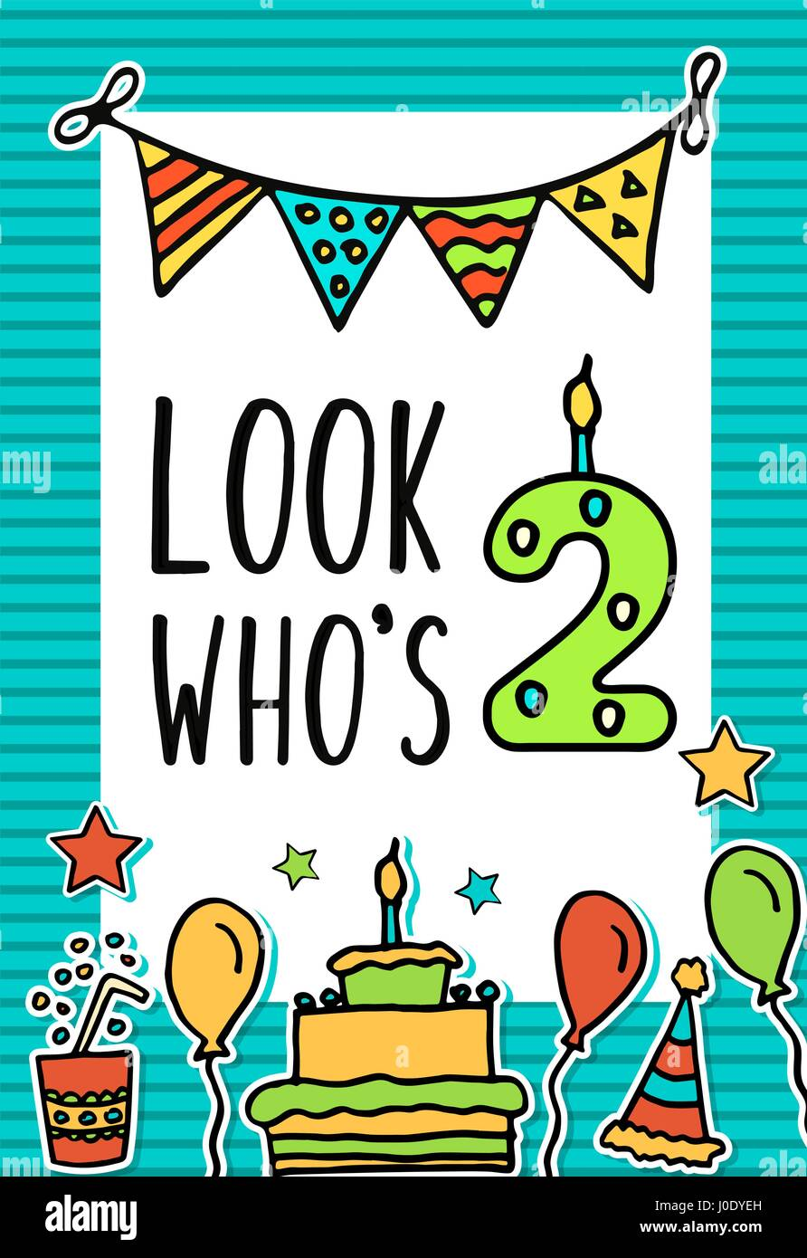 Birthday Kids vector card with colorful numeral candle, balloons, cake, hat, cocktail to design holiday cards and - Stock Image