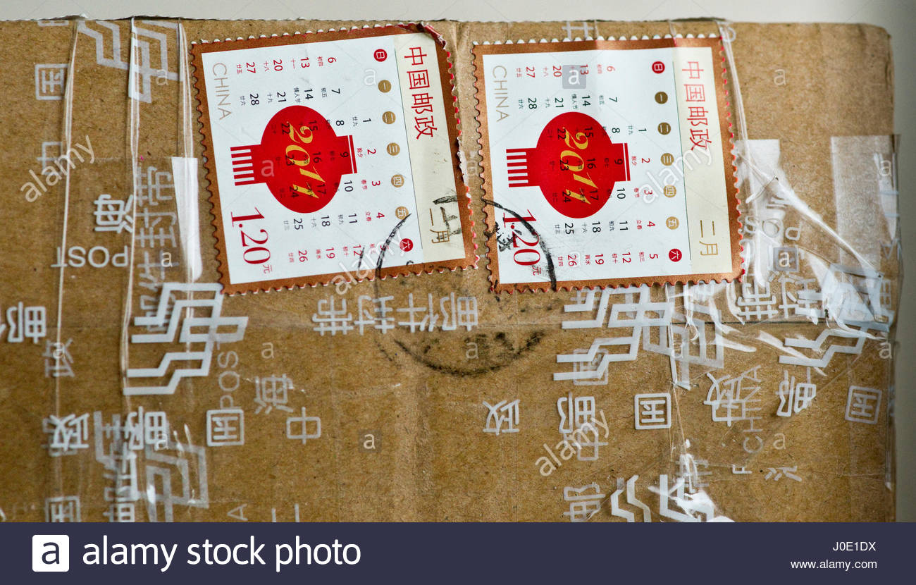 Europe, Germany, Bavaria, View Of Mail Order Products Arriving By Post From China Stock Photo