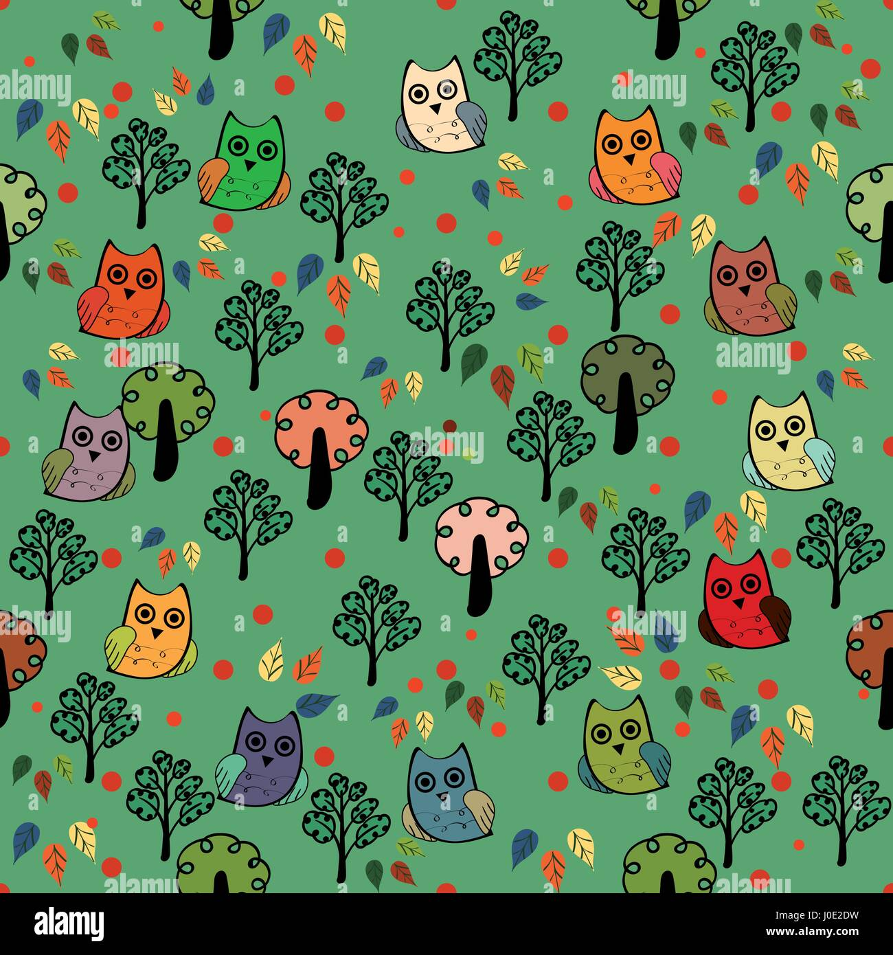Owls forest vector seamless pattern - Stock Vector