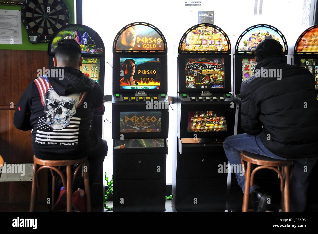 Milan, Italy, video poker in a bar - Stock Image